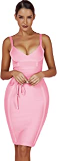 Women's Rayon Strappy Belt Detail Cocktail Club Bodycon Party Bandage Dress