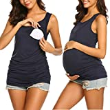 Hotouch Women Maternity Nursing Tank Top Soft Clothes for New Moms Navy Blue S