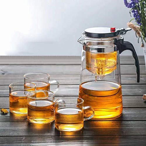 Tea Pots Heat Resistant Glass Tea Pot Tea Infuser Chinese Kung Fu Tea Set Kettle Coffee Glass Maker Convenient Office Tea Sets (500ML)