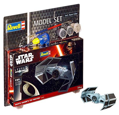 Revell Modellbausatz Star Wars Darth Vader's TIE Fighter im Maßstab 1:121, Level 3, originalgetreue Nachbildung mit vielen Details, Model Set mit Basiszubehör, einfaches Kleben und Bemalen, 63602