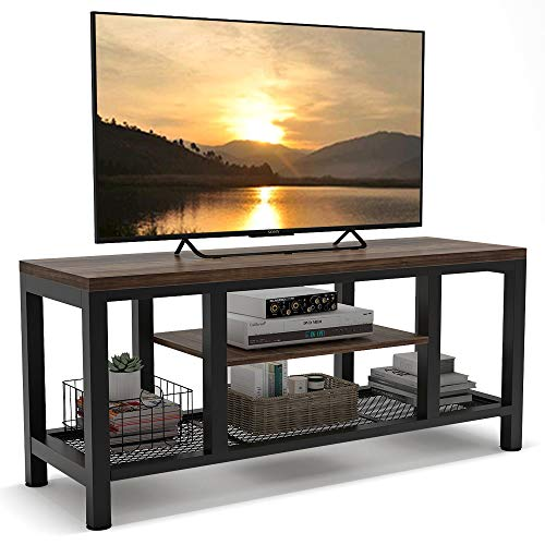 TV Stand, 59 InchesTribesigns Industrial Rustic Media Stand for 60 Inches TV, Large 3-Tier Entertainment Center with Metal Mesh Shelf, Media Console Table for Living Room