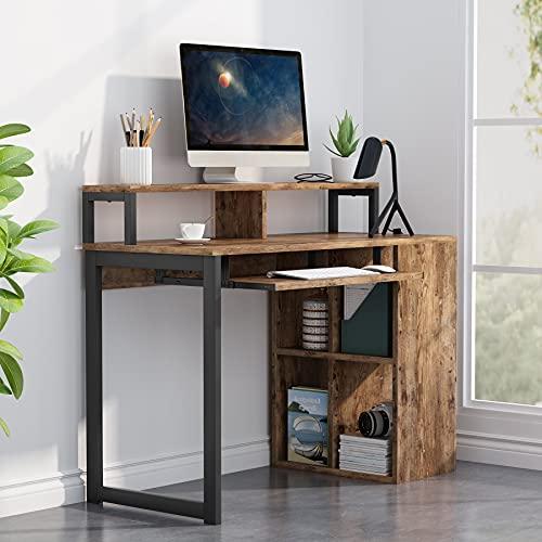 Tribesigns Schreibtischtisch, Computertisch mit Push-Pull-Tastaturablage und Regalen, Schreibarbeitsplatz mit Monitorständer für Home Office, Retro, schwarz und braun