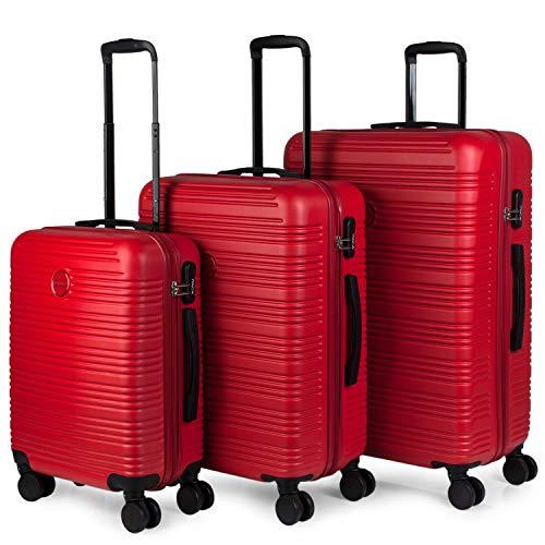 ITACA - Juego Maletas de Viaje Rígidas 4 Ruedas Trolley 55/65/75 cm ABS. Duras Cómodas y Ligeras. Candado. Pequeña Cabina Ryanair Mediana y Grande T72100, Color Rojo