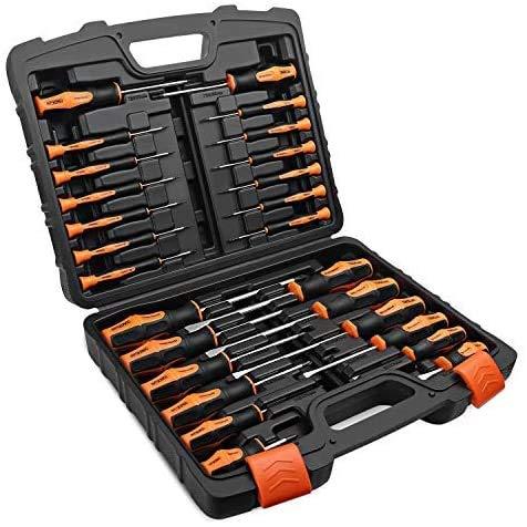 TACKLIFE Set Cacciaviti Magnetici Professionali 26PCS, Manico in TPR PP, per Riparazione di Elettrodomestici, Orologi, HSS1B