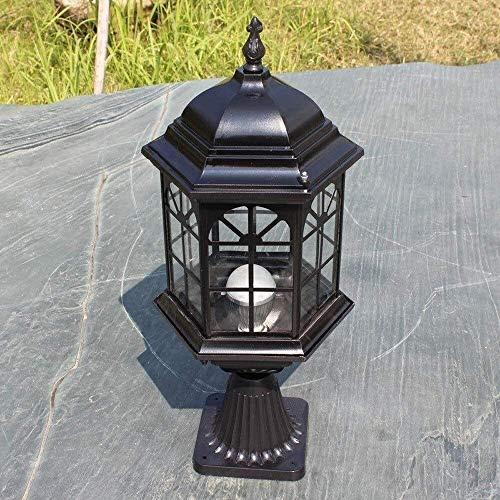 Lámpara De Columna De Jardín Industrial Victoriana Europea Luz De Columna De Aluminio Ip65 Lámpara De Poste De Pilar Impermeable Lámpara De Pedestal De Vidrio Clásico Luces De Mesa Externas Pa