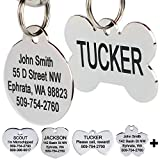 GoTags Stainless Steel Pet ID Tags, Personalized Dog Tags and Cat Tags, up to 8 Lines of Custom Text Engraved on Both Sides, in Bone, Round, Heart, Bow Tie, Flower, Star and More (Bone, Regular)