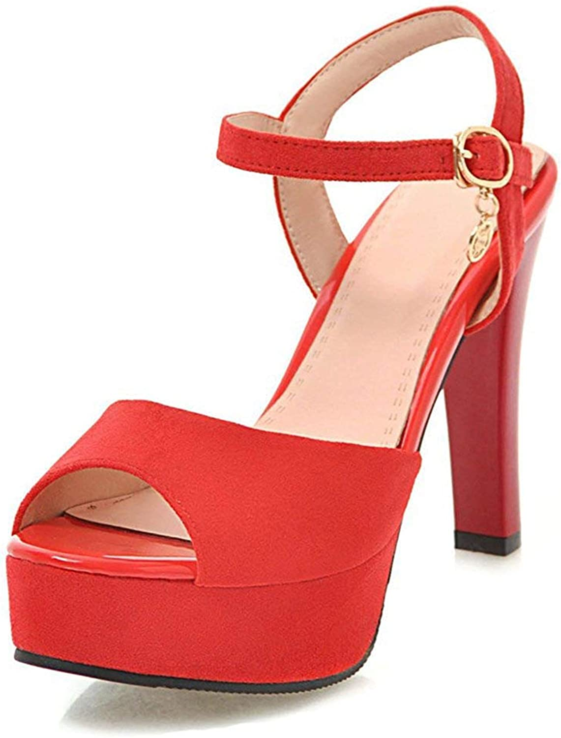 Unm Women's Peep Toe Sandals with Ankle Strap - High Heel Buckled - Platform Stilettos Wedding