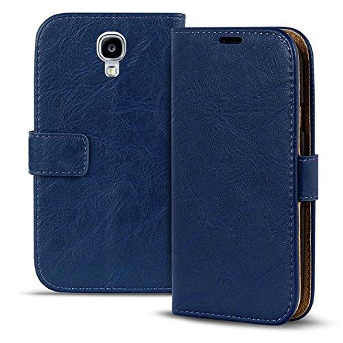 """Conie Hülle für Samsung Galaxy S4 Mini Vintage Tasche Bookstyle Blau, PU Leder Hülle Blau, Handyhülle Galaxy S4 Mini Flip Case Wallet, Booklet Cover Etui, für Samsung Galaxy S4 Mini (4.3\"""")"""