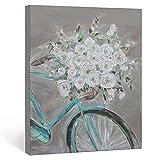 SUMGAR Cuadro decorativo para pared con flores blancas y bicicletas, color gris, tamaño grande, hecho a mano, para dormitorio o sala de estar, 81 x 101 cm
