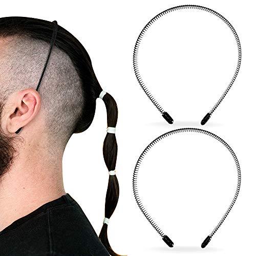 2 Stück Schwarz Haarreif Männer Damen, XCOZU Metall Haarreifen Männer Haarbänder, Unisex Stirnbänder Stirnband Rutschfestes Haarband, Elastisches Haarschmuck Zubehör für Outdoor Sports Yoga
