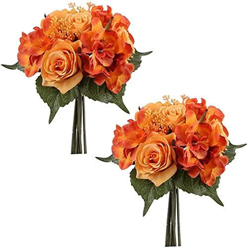 Yyhmkb 2 Packs Artificielle Mixte Rose Et Hortensia Bouquet Soie Hortensia Faux Bouquets De Fleurs 9 Têtes Faux Rose Hortensia Arrangement Orange