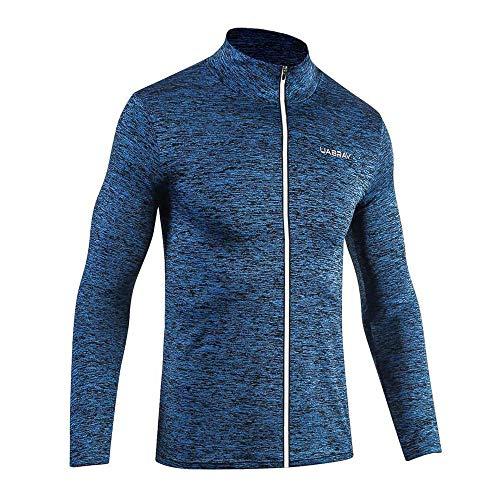 Madeinely - Chaqueta deportiva para hombre, de invierno, para deportes al aire libre, ocio, deportes, correr, secado rápido, con cremallera, cuello alto, elástico, ropa de fitness para ejercicio, color azul, tamaño XXXL