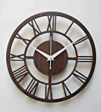 Simran Handicrafts Round Roman Wooden Clock, Wood Carving MDF Design Wall Clock, Perfect for Office, Classroom, Bedroom, Living...