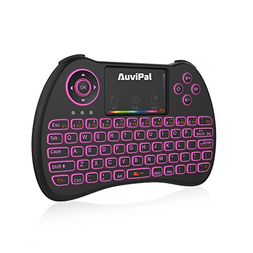 AuviPal R9 2.4 GHz Mini Teclado inalámbrico Mouse Combo para Streaming TV Stick/Nvidia Shield/Android TV Box/PC y más – RGB versión con retroiluminación