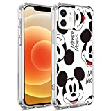 DISNEY COLLECTION iPhone 12 Mini Case Mickey Mouse Wallpaper Shock-Skid Scratch-Resistant Military Grade Protection Hard PC + Flexible TPU Crystal Clear Cover Case
