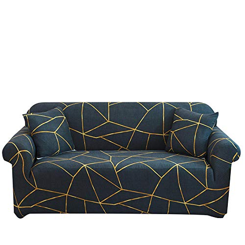 5-Piece Universal Stretch Sofa Cover 92-118 Inch with 4 Cushion Covers, Polyester Spandex Fabric 4 Seater Slipcover Couch Covers, Furniture Protector for Couch Cover (Dark Green Lines,4 Seater/Sofa)