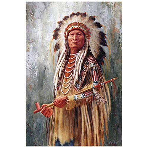 Diy Oil Painting Paint by Number Kit for Adults,Native American Man,16''X20''
