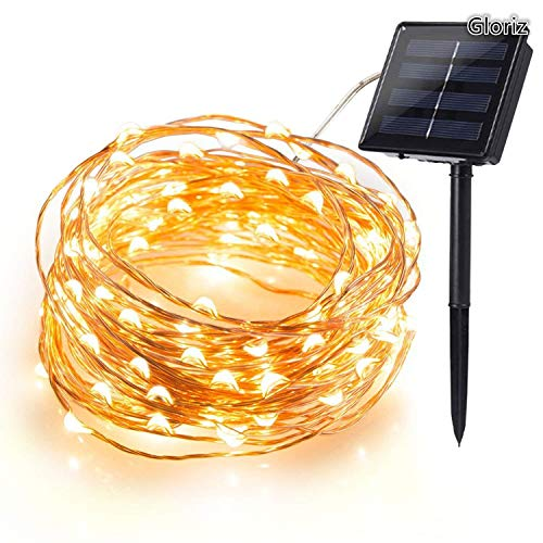 Cadena Luces Solares, Gloriz 22M 200 LED 8 Modos 3 Hilos de Alambre de Cobre IP65 Impermeable Guirnalda…