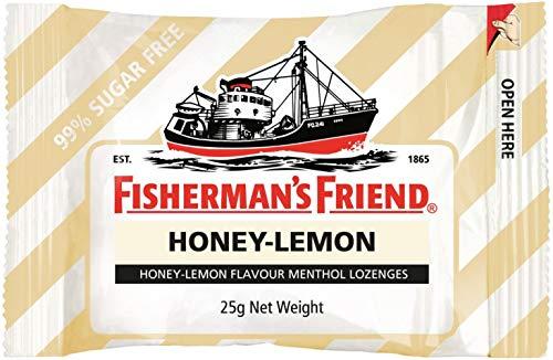 Pescadoras de limón y miel sin azúcar Fishermans Friend 25gm x 12