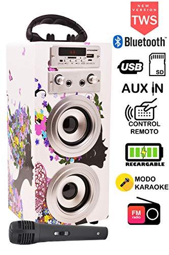 DYNASONIC - Bluetooth Lautsprecher für Karaoke MP3 Player Boxen Akku-Lautsprecherbox TWS Microphone - Model 025-8 (1 Mikrofon)