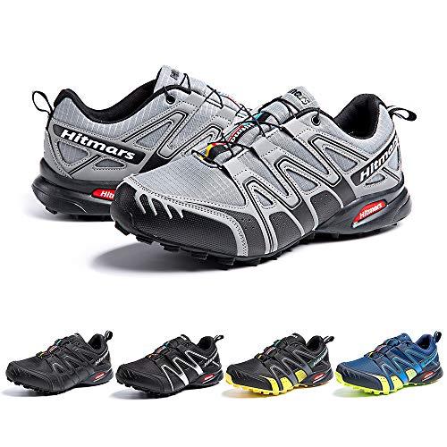 Zapatillas De Trail Running Impermeables para Hombre Mujer Zapatillas Trekking Zapatos Senderismo Deporte Gris Talla45