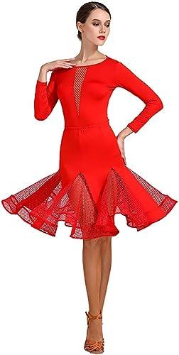 DHTW&R Femmes Latino Danse Creux Professionnel Jupe Les Robes Flexible étape Examen De Danse Les Costumes élégant Fête Concurrence Robe