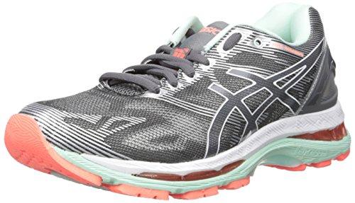 ASICS Women's Gel-Nimbus 19 Running Shoe, Carbon/White/Flash Coral, 7 2A US