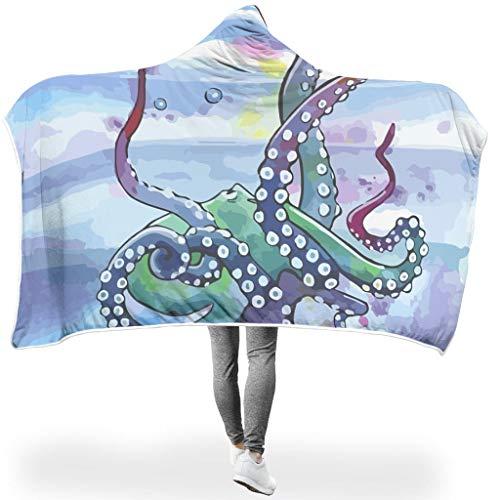O5KFD & 8 vleermuisdeken, inktvis, bedrukt Sherpa ultra zacht werft robe – kleine eend universeel geschikt voor volwassenen en vrouwen