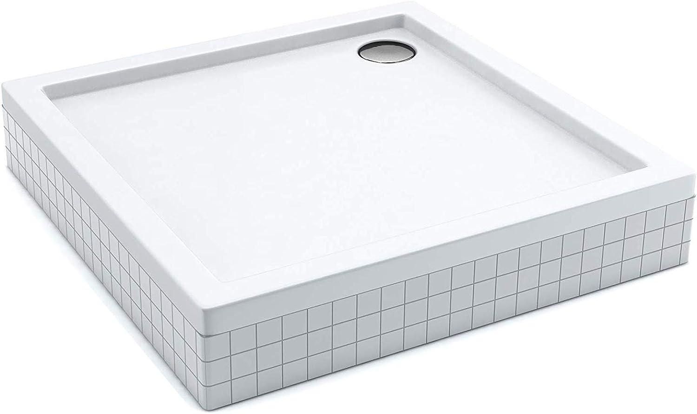 Quadrat Duschwanne Duschtasse AQUABAD     Komplettset Comfort Basic 100x100cm     inkl. Styroportrger und Ablaufgarnitur Siphon Viega Tempoplex     (Gesamthhe inkl. Trger 16 cm) zum Befliesen