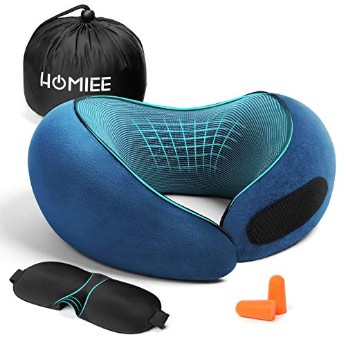 Travel Pillow, Neck Pillow for Airplane and Car, 2020 New Ergonomic Design for Head & Chin Support, 100% Comfortable Memory Foam, Size Adjustable with Storage Bag, Sleep Mask, Earplugs Blue - Homiee