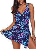 BET&FIT Womens One Piece Swimsuits Skirted Swimwear Floral Printed with Shorts Bathing Suits Dark Blue