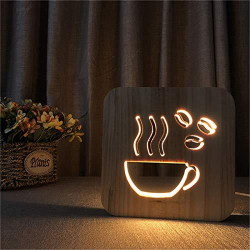 BFMBCHDJ Kaffeetasse Form Holz Lampe 3D LED ausgehöhlt Nachtlicht Warmweiß Tisch USB Versorgung als Shop Office Home Decor Geschenk