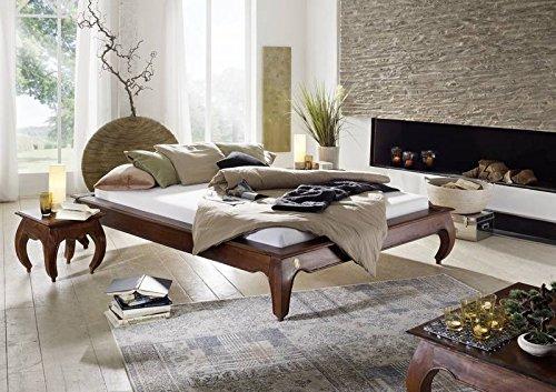 MASSIVMOEBEL24.DE Massiv Holz Möbel Akazie Bett 140x200 Massivmöbel Nougat Opium #262