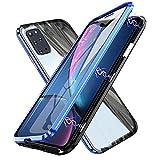 rayoo cover per samsunggalaxy a51 magnetica,sottile trasparente vetro temperato 360 gradi custodia,adsorbimento magnetico cornice paraurti in metallo full body protezione flip case,blu