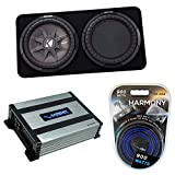 """Kicker 43TCWRT122 12"""" CompR Series Sub 500W RMS Thin Profile Loaded Subwoofer Box Bundle with Harmony HA-A400.1 Amplifier & Amp Kit"""