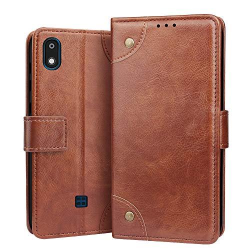 RIFFUE Hülle für LG K20 2019 Hülle, Handyhülle LG K20 2019 Premium Tasche Leder Künstliche Brieftasche Klapphülle Weiche mit Kartenfach Standfunktion 5,45 Zoll - Hellbraun