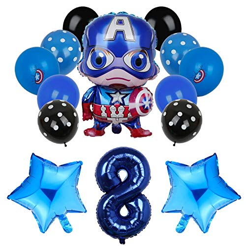 QIANGQSM 14pcs Captain America Hero Man Foil Balloon Number Balloons Baby Shower Birthday Party Decoration balloon (Color : 8)
