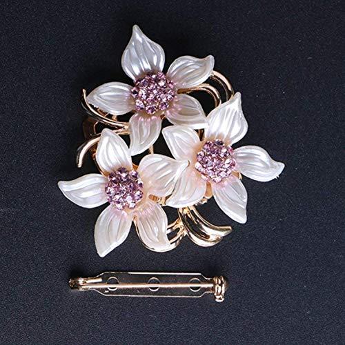 CHOUCHOU Colgante Pendientes capaces Crystal Rhinestone de Tres Simple de Las Flores Broche Flor de Piedra Opal Bufanda Clip de Hebilla de la Mujer Accesorio