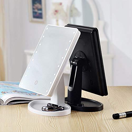 Big face Cat Make-upspiegel, LED, intelligente make-upspiegel, vergrootglas, drieweg-touchscreen, lichtspiegel, spiegel, zwart, 16 lichtjes USB
