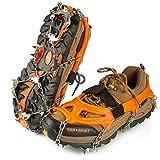IPSXP Crampones, 26 Dientes Tacos de tracción Nieve y Hielo Tracción para Invierno Deportes Montañismo Escalada Caminar Alpinismo Cámping Acampada Senderismo (M)
