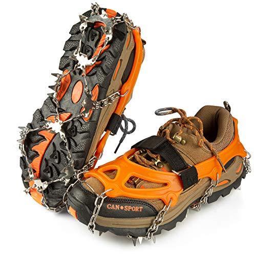 IPSXP Crampones, 26 Dientes Tacos de tracción Nieve y Hielo Tracción para Invierno Deportes Montañismo Escalada Caminar Alpinismo Cámping Acampada Senderismo (XL)