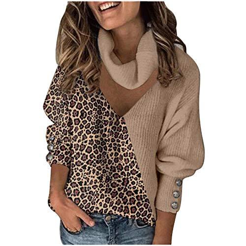 GOKOMO Damen Pullover Spleißen Leopard Gitter Sweatshirt Langarmshirt Rollkragen Pulli Damen Warm Top Lässige Lose Tunika Bluse Shirt Oberteil Kleidung Kapuzenpullover
