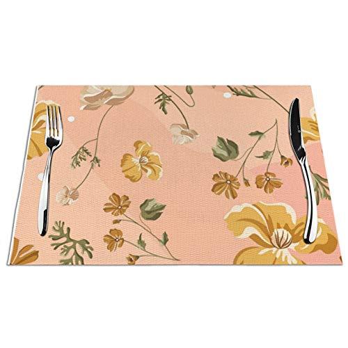 Meius Manteles individuales para mesa de comedor, Peachy Keen Floral Juego de 4 manteles individuales de vinilo PVC resistentes al calor, lavables antideslizantes para cocina, restaurante