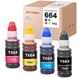 MYTONER Compatible Ink Bottle Replacement for Epson 664 T664 use for ET-4550 ET-2650 ET-2550 ET-4500 ET-2500 ET-2600 ET-16500 Printer (Black, Cyan, Magenta, Yellow, 4-Pack)