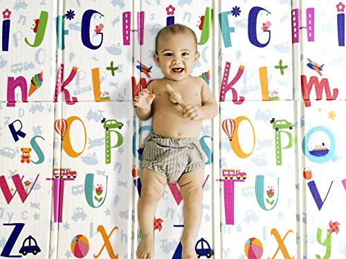 Tappeto Per Bambini e Neonati 200x180x1.5cm Reversibile e Non Tossico, Pieghevole e Impermeabile in Schiuma Per Bimbi. Per la Camera del Bambino o del