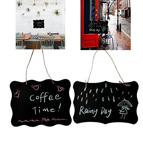 TIMESETL 2er Kreidetafel zum Aufhängen Schiefertafel Wandtafel schwarz Beidseitig Beschreibbar zum Aufhängen für Küche Wand, Hochzeit, oder Menü Zeichen
