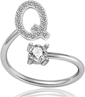 Tafeily Women Adjustable Ring Alphabet Initial Open Rings Finger Jewelry CZ Statement Rings,Letter A to Z