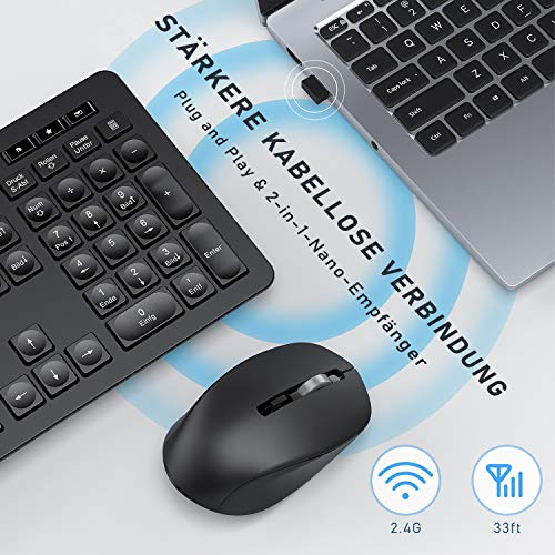 Jelly Comb Tastatur Maus Set kabellos, Kabellos Funkmaus und Tastatur mit USB Empfänger, 2.4 Ghz Funktastatur mit Maus Set für PC Desktop Notebook Laptop,14 Zusatztasten, QWERTZ-Layout, Schwarz