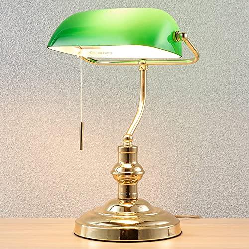 Lindby Bankerlampe grün messing poliert   Retro Schreibtischlampe   Bürolampe mit Zugschalter   Tischlampe 1 flammig E27 Fassung max. 60W   ohne Leuchtmittel