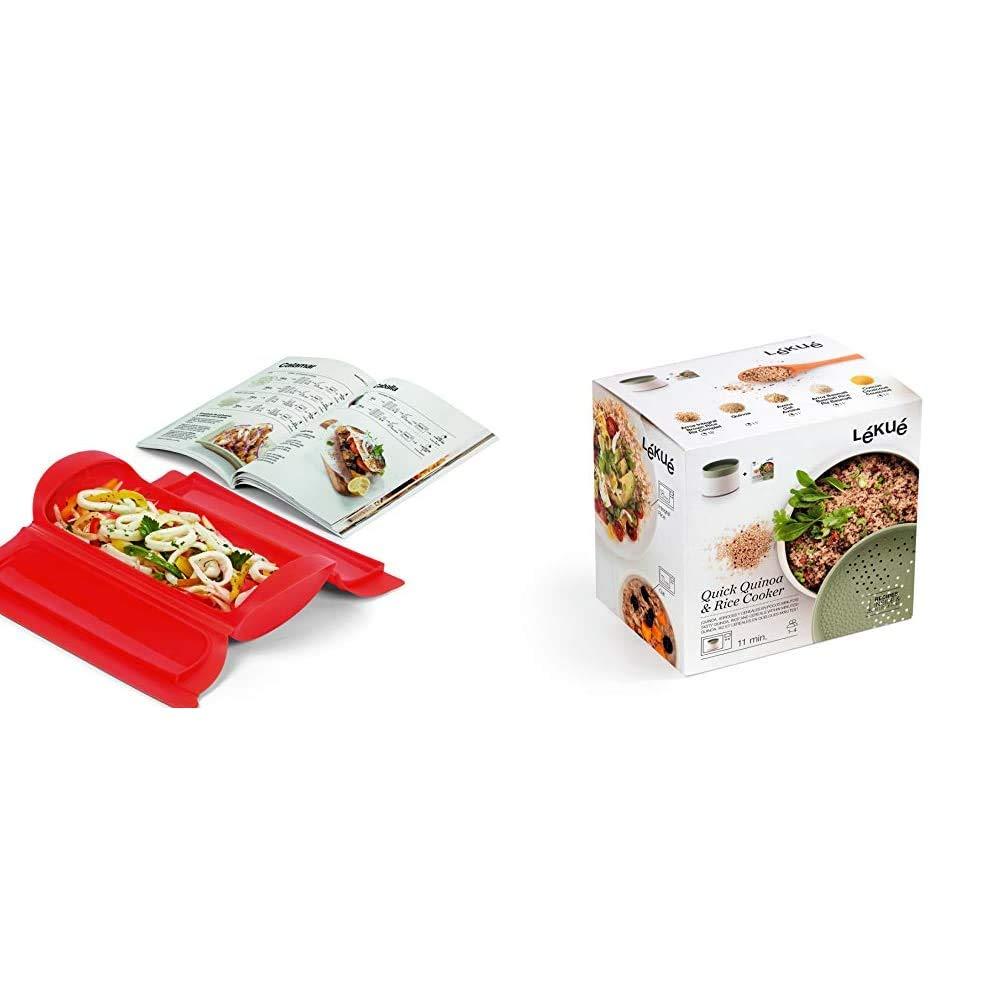 Lékué - Kit Estuche de vapor 1,2 personas + libro de recetas, 650 ml, Silicona + Recipiente para cocinar Quinoa, Arroces y Cereales, 1 Litro: Amazon.es: Hogar